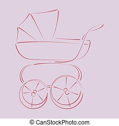 Sketched baby stroller buggy. Harmonic colors. Background...
