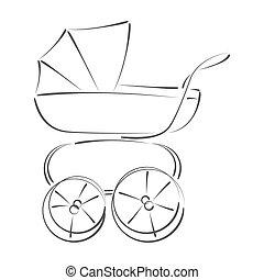 Sketched baby stroller buggy. - Sketched baby stroller....