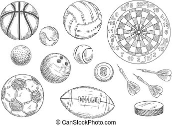 Sketched balls, hockey puck and darts items