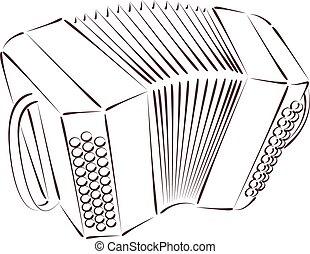 Sketched bandoneon. - Sketched bandoneon concertina isolated...