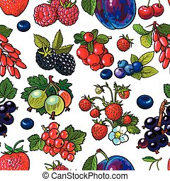 Sketched berries like blueberry, raspberry, gooseberry, current, plum seamless pattern
