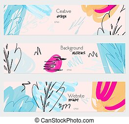 Sketched bird and trees pink blue banner set