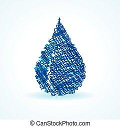 Sketched blue waterdrop design stock vector