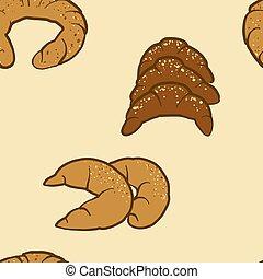 sketched, bread, seamless, kifli, パターン