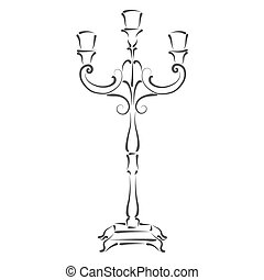 Sketched candle holder. Design template for label, banner or...