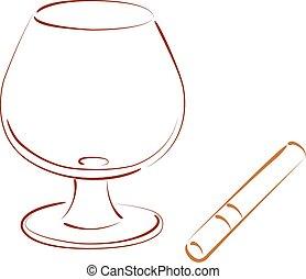 Sketched cognac balloon and cigar.
