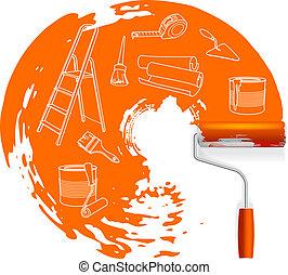 sketched, concepto, dibujo, reparación, rodillo, hogar