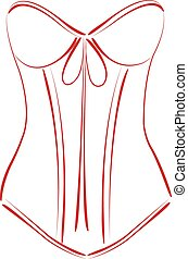 Sketched corset. - Sketched red corset isolated on white...