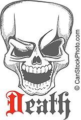 Sketched creepy laughing human skull icon