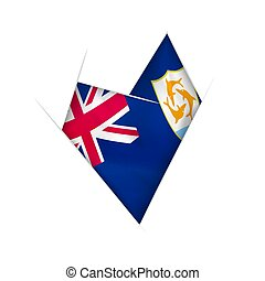 Sketched crooked heart with Anguilla flag