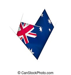 Sketched crooked heart with Australia flag