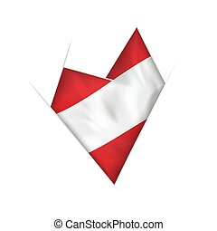 Sketched crooked heart with Austria flag