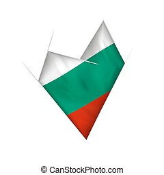 Sketched crooked heart with Bulgaria flag