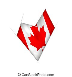 Sketched crooked heart with Canada flag