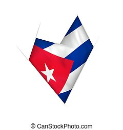 Sketched crooked heart with Cuba flag