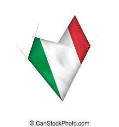 Sketched crooked heart with Italy flag