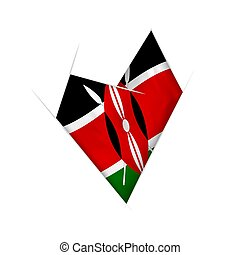 Sketched crooked heart with Kenya flag