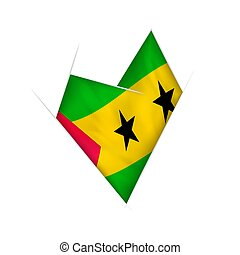 Sketched crooked heart with Sao Tome and Principe flag -...