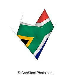 Sketched crooked heart with South Africa flag