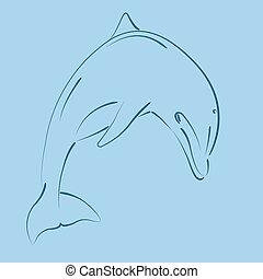 sketched, delfin, springende