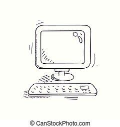 Sketched desktop computer icon