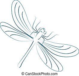 Sketched dragonfly. - Elegant sketched dragonfly isolated on...