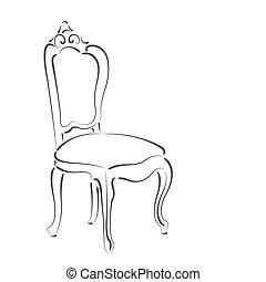 sketched, elegante, chair.
