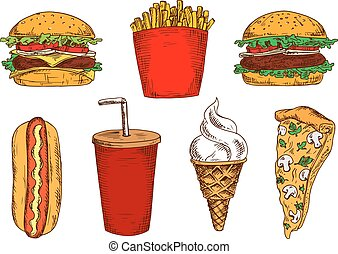 Sketched fast food lunch with soda and ice cream