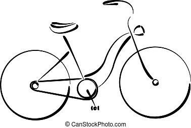 Sketched female bicycle isolated on white.