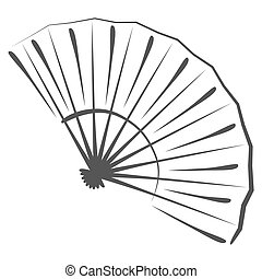 Sketched folding fan. - Stylized illustration of a folding...