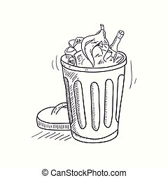 Sketched full trash bin desktop icon
