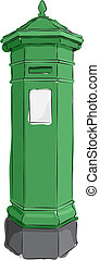 Sketched Green Postbox