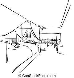 sketched, habitación de hotel, balcón, interieur