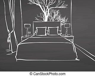 Sketched hotel room on chalkboard, handdrawn vector sketch, ...