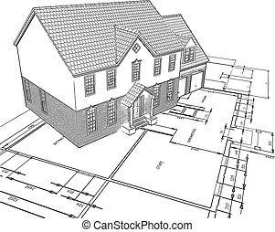 Sketched style illustration of a house on plans