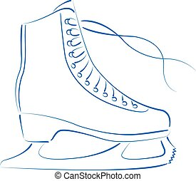 ice skates isolated on white sketch vector illustration