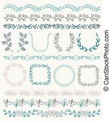 sketched, mão, ramos, bordas, fronteiras, coloridos, seamless