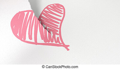 A white piece of paper tearing in two through a sketched pink heart