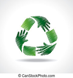 Sketched recycle icon of hand