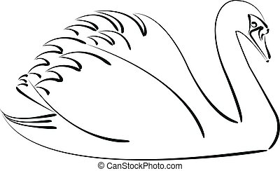 Abstract sketched swan isolated on white background. Design template for label, postcard or logo.