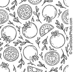 Sketched tomatoes seamless pattern