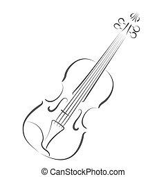 Sketched violin. Design template for label, postcard or logo...