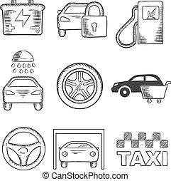 sketched, vogn tjeneste, og, transport, iconerne