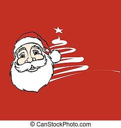 Sketched Xmas Label Santa Head and Tree