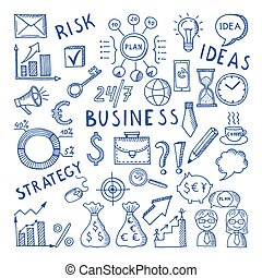 Sketches illustrations at business theme. Creative doodle vector icon set