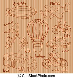 Sketches means of transport, vector illustrations on...