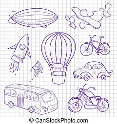Sketches means of transport, vector illustration - Sketches...