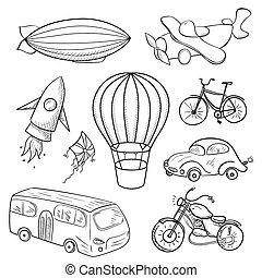 Sketches means of transport, black and white vector illustration