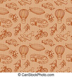 Sketches means of transport, vintage vector seamless pattern...