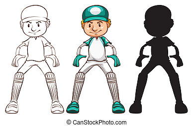 Sketches of a cricket player in different colours